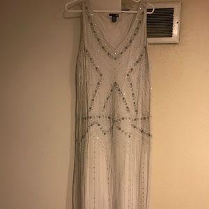 H&m white silver sequin dress flapper 1920s sz 14